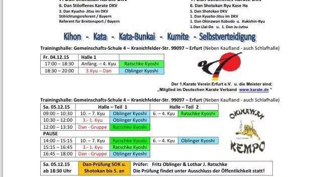 Weihnachtsseminar des 1. Karate-Verein Erfurt